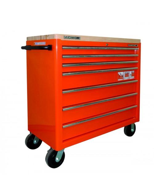 7 çekmeceli extra geniş kapasiteli takım arabası, ahşap kaplamalı üst yüzey